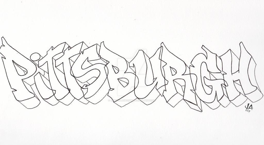 Pittsburgh Graffiti Outline by JesseAllshouse