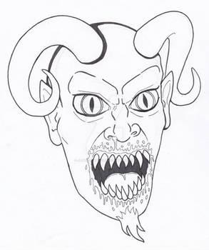 Demon Portrait Quick Sketch and Ink