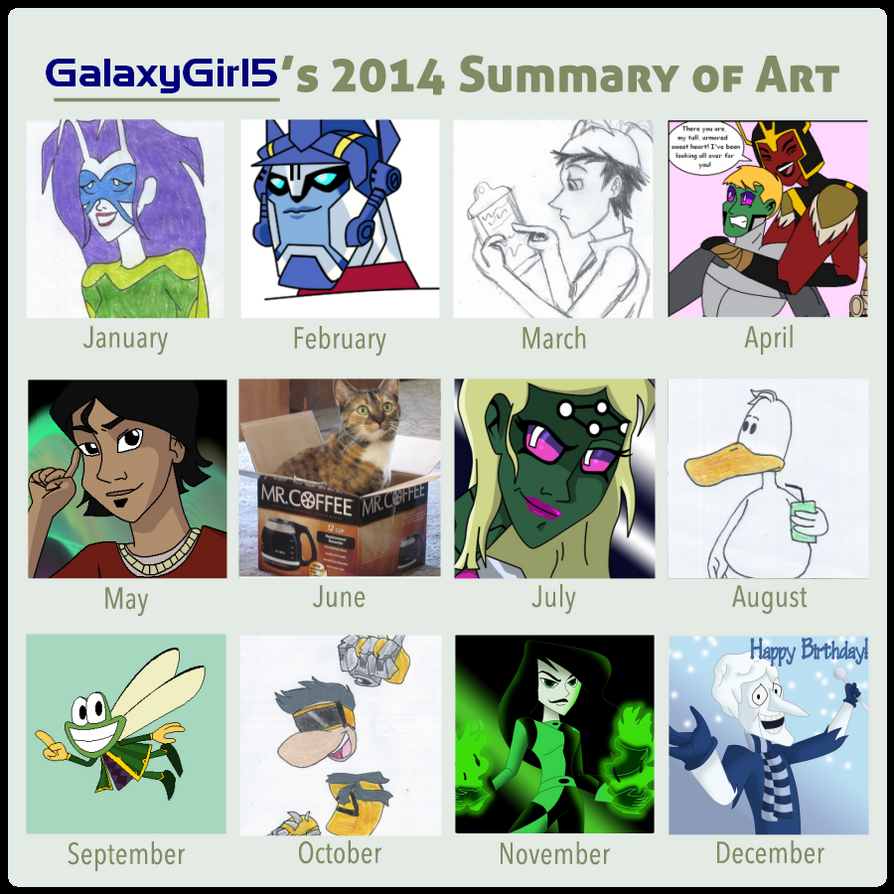 GalaxyGirl5's 2014 Summary Of Art by GalaxyGirl5