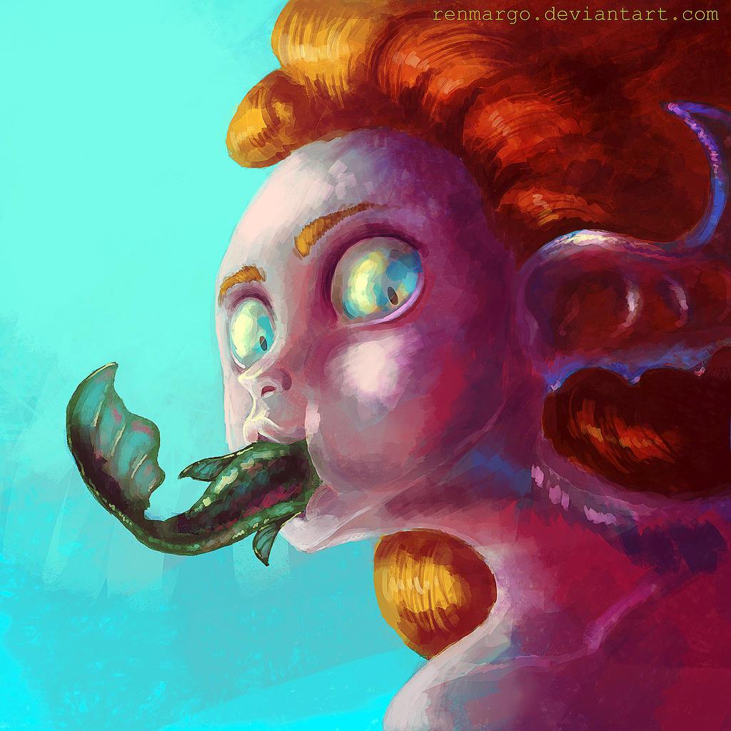 Mermaid eats :3 by renmargo