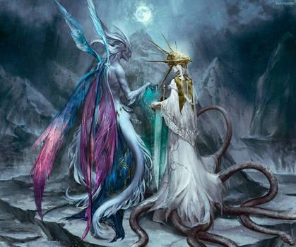 Dark Souls Seath the Scaleless and Gwyndolin by RisingMonster