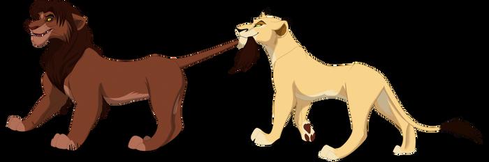 Uru and Ahadi :gender bender: by Mganga-The-Lion