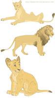 Semi - realistic lions by Mganga-The-Lion