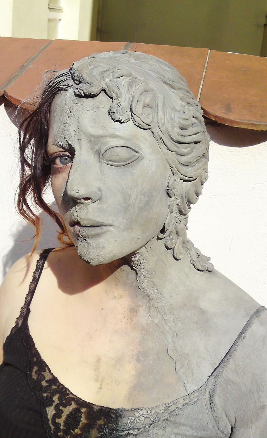weeping angel makeup face by