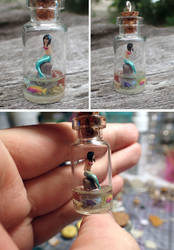 Mermaid in a little bottle pendant