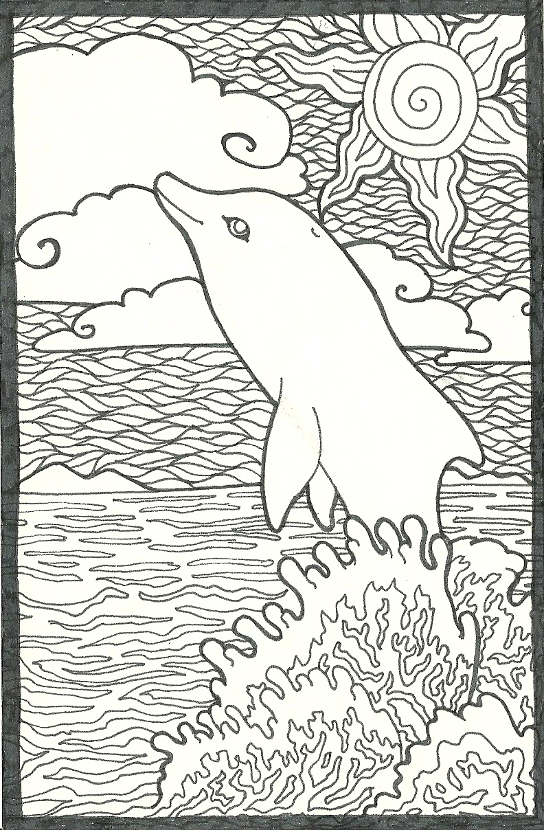 hard dolphin coloring pages - photo#14