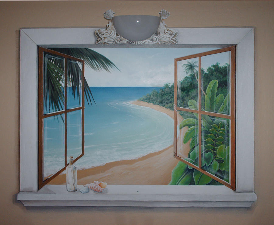 Open window beach mural by silkwood art on deviantart for Beach mural ideas
