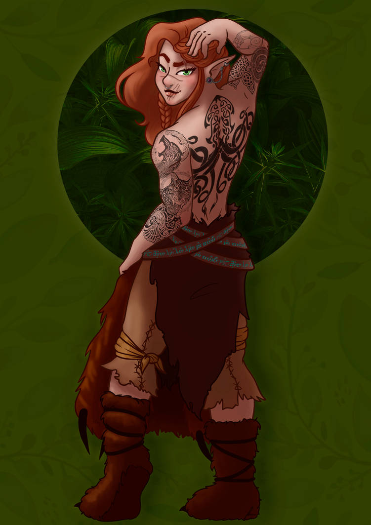 Elora the (HOT) barbarian wood elf - commission by ...