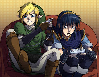 link and marth play brawl by louten