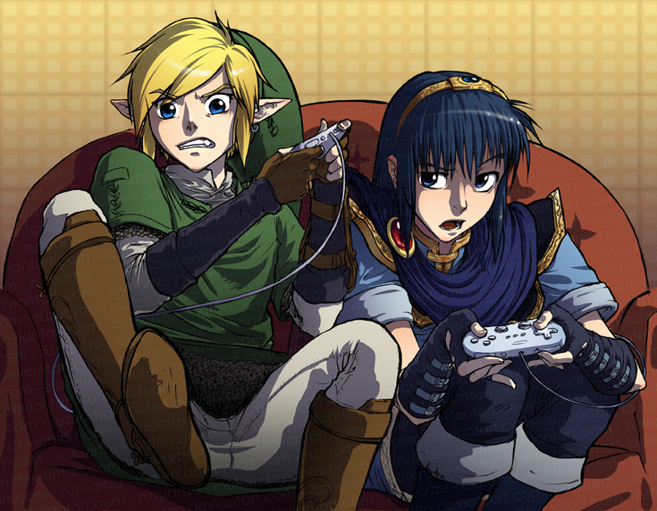 Video Games Link And Marth Plays Brawl By Louten
