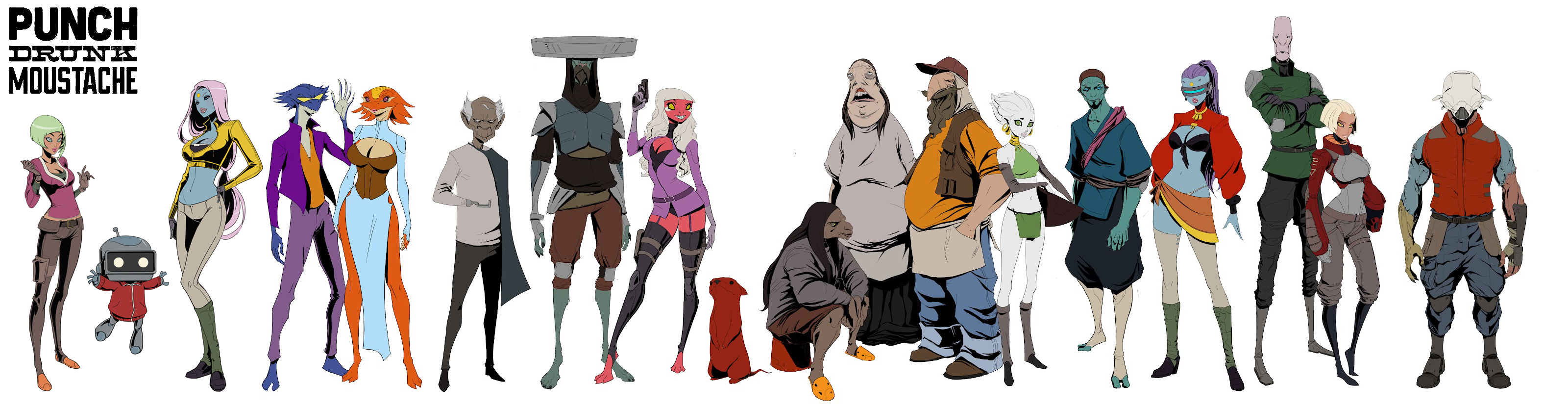 Character Design Lineup : Punch drunk moustache character lineup by songjong on