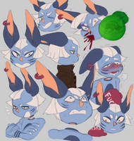 [CANNIMORTE] Kosmo - Expression Sheet by zigzaggin-goon