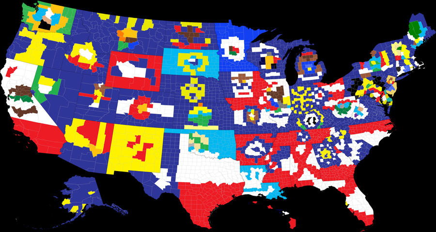 US State Flags In Counties By Viktorkrum On DeviantArt - Us map with state flags