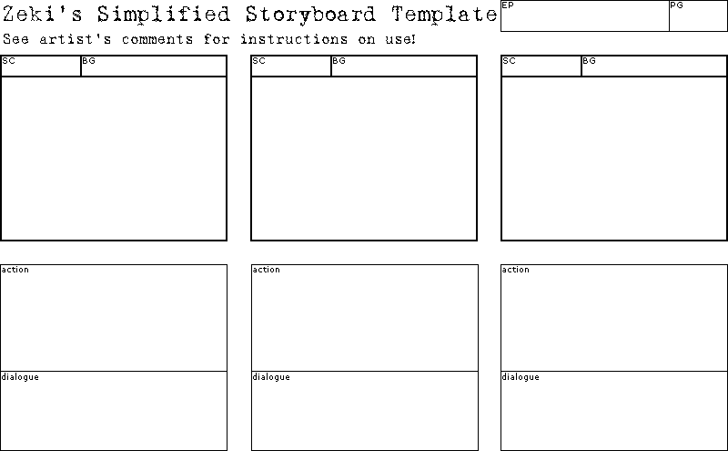 Animation Storyboard Template | Simplified Storyboard Template By Cookiephantom On Deviantart