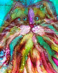 Alcohol Ink Whimsical Maine Coon Cat Painting