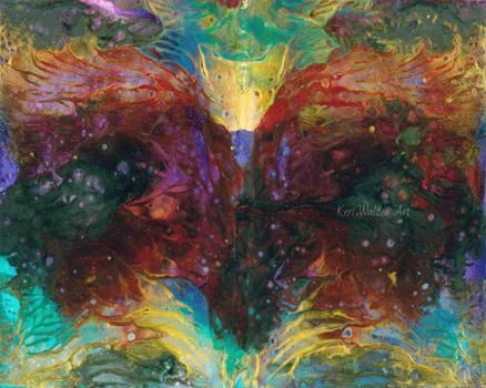 Dark Heart Fantasy Acrylic Pour Painting