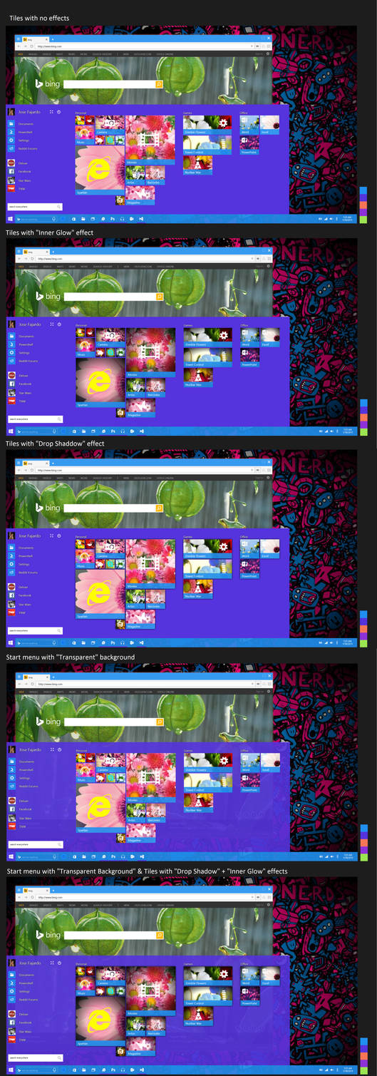 Concept 8 : Startmenu + 3 different effects