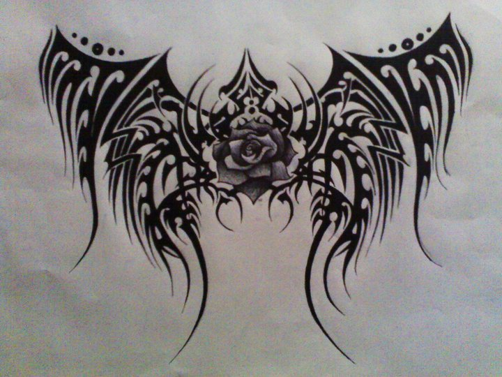 Tribal Wings and Rose by xVictoriaLeannex on DeviantArt