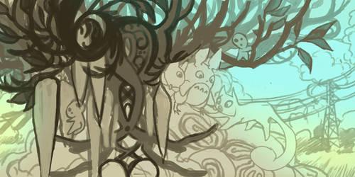 Totoro and Secret of Kells rough draw
