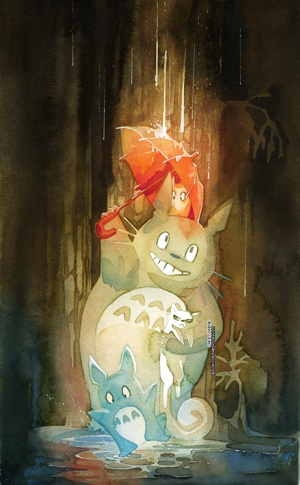 Umbrella Totoro and Secret of Kells Pangur Ban by blix-it