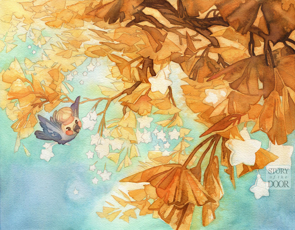 Ginkgo Birb Watercolor by blix-it