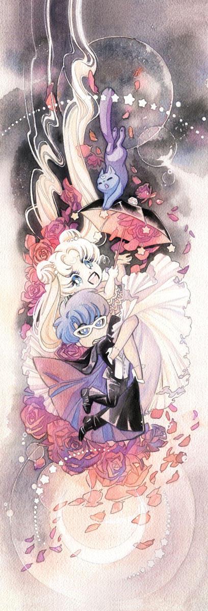 Sailor Moon and Tuxedo Mask Umbrella Wedding