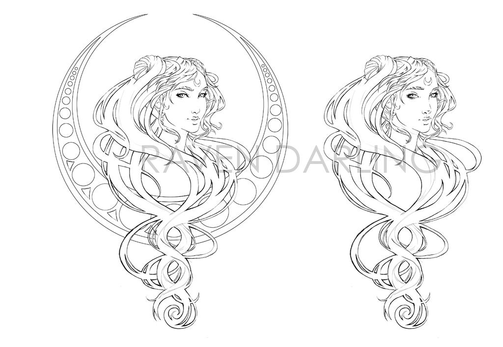 NEO QUEEN SERENITY WIP LINE ART by DeadlyRemote
