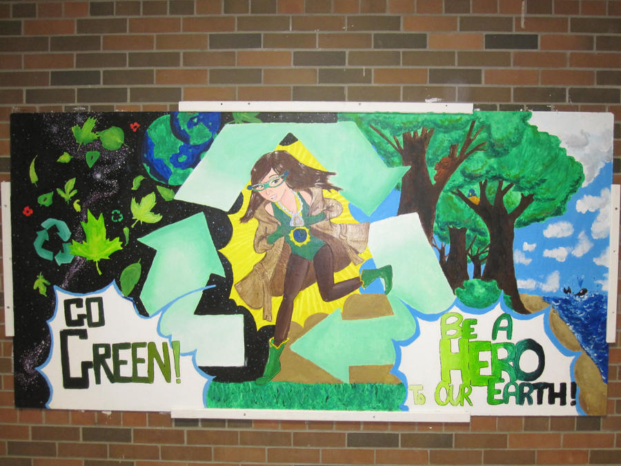 go green be a hero mural by rakka teh gothic on deviantart
