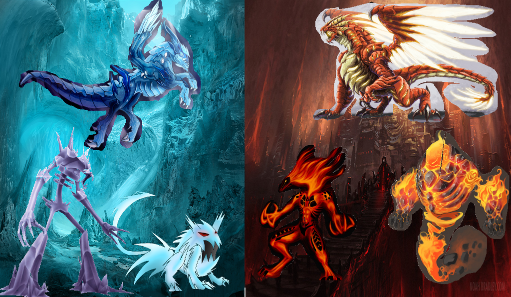 giant giant fire dragon vs ice dragon - photo #18