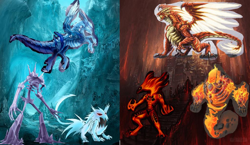 giant giant fire dragon vs ice dragon - photo #18