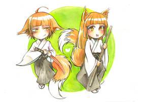 Ki-aikido foxes by namirenn