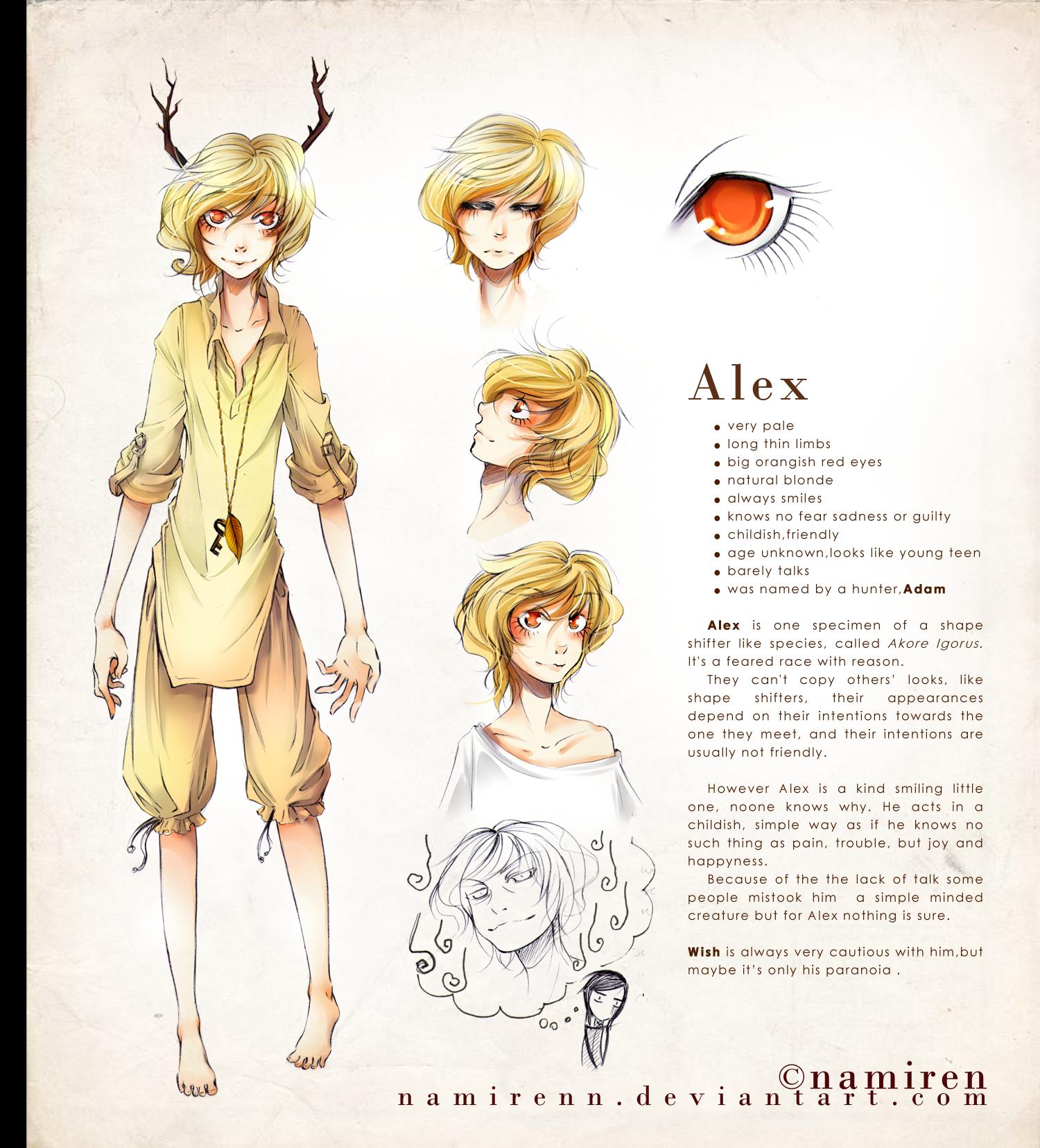 Character information sheet -  Alex Character Sheet By Namirenn