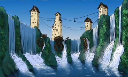 Dwarven Waterfall Town