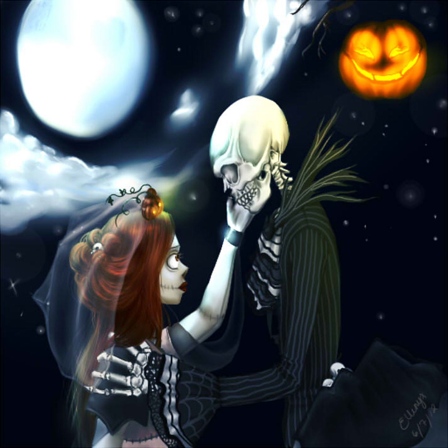 Jack and Sally Finished by ElleNyx on DeviantArt Nightmare Before Christmas Jack