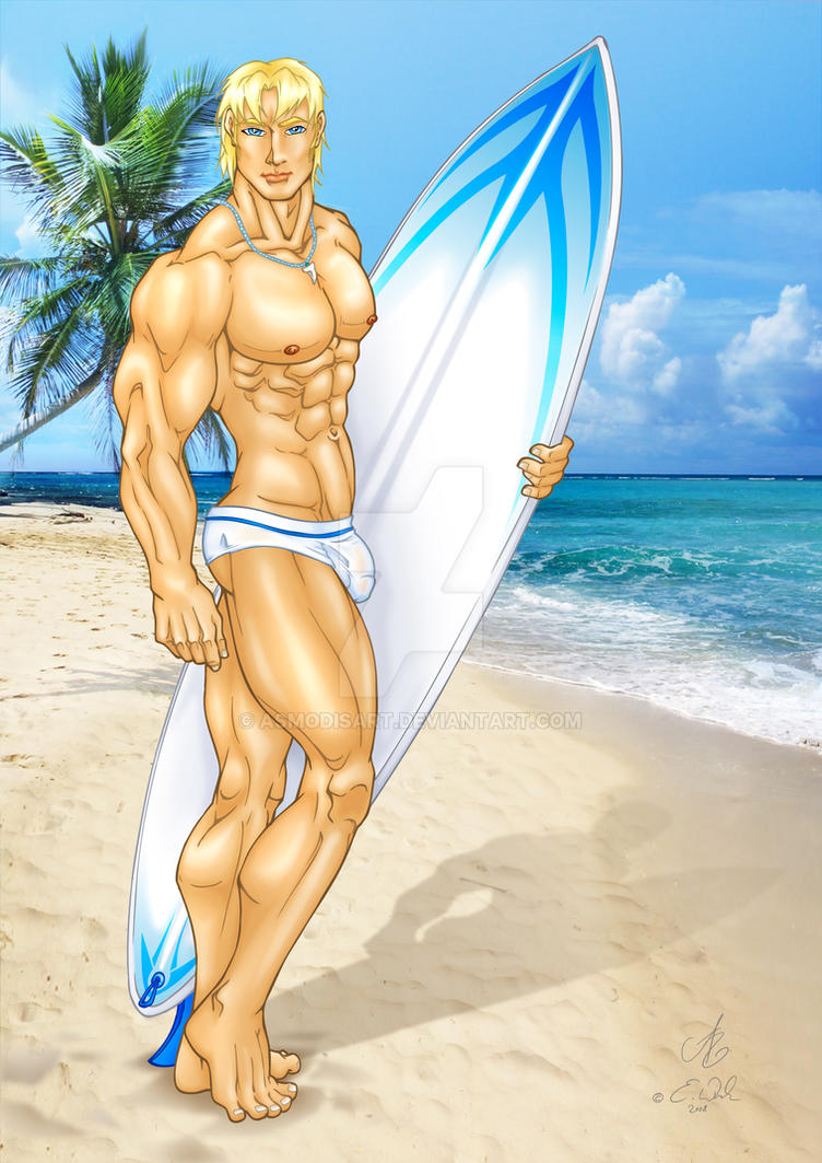 Surfer Hunk by AsmodisArt