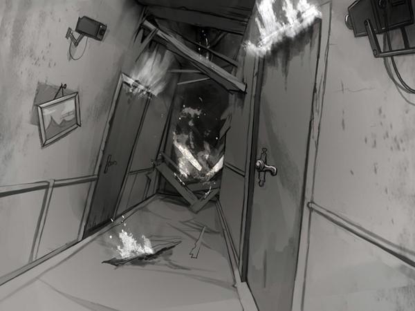 Corridor in fire by Okha