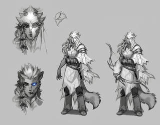 Feline warrior concept by Okha