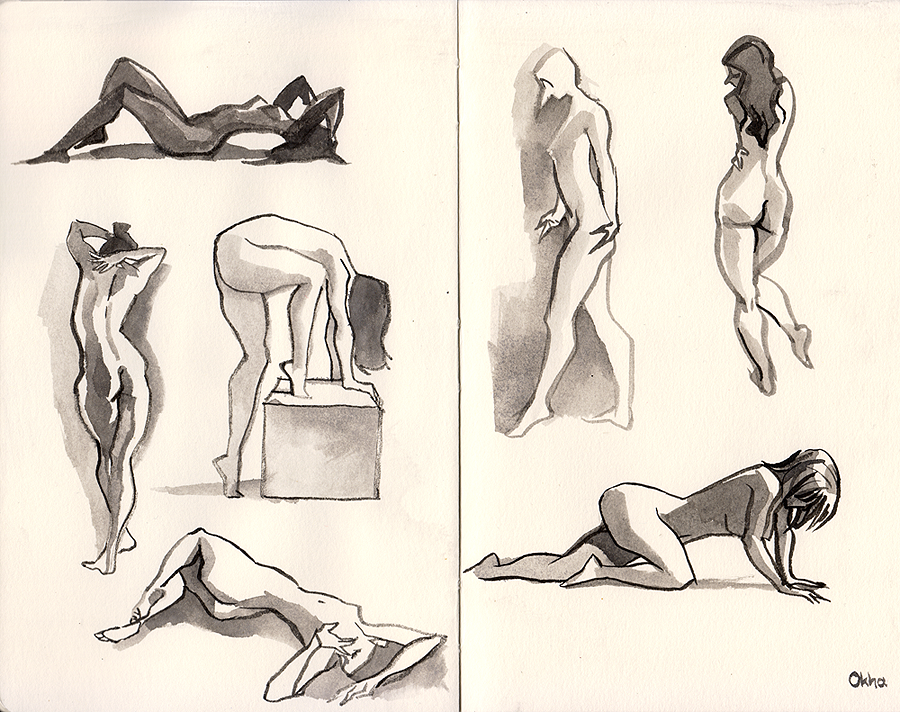 03 Inktober - Gesture practice by Okha