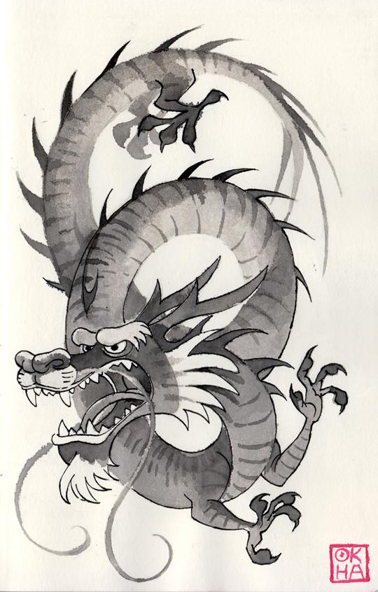 05 Inktober - Chinese Dragon by Okha