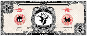 Monopoly bank note 5 poly