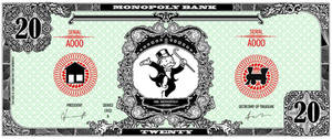 Monopoly bank note 20 poly