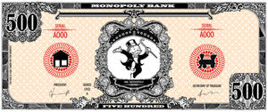 Monopoly bank note 500 poly