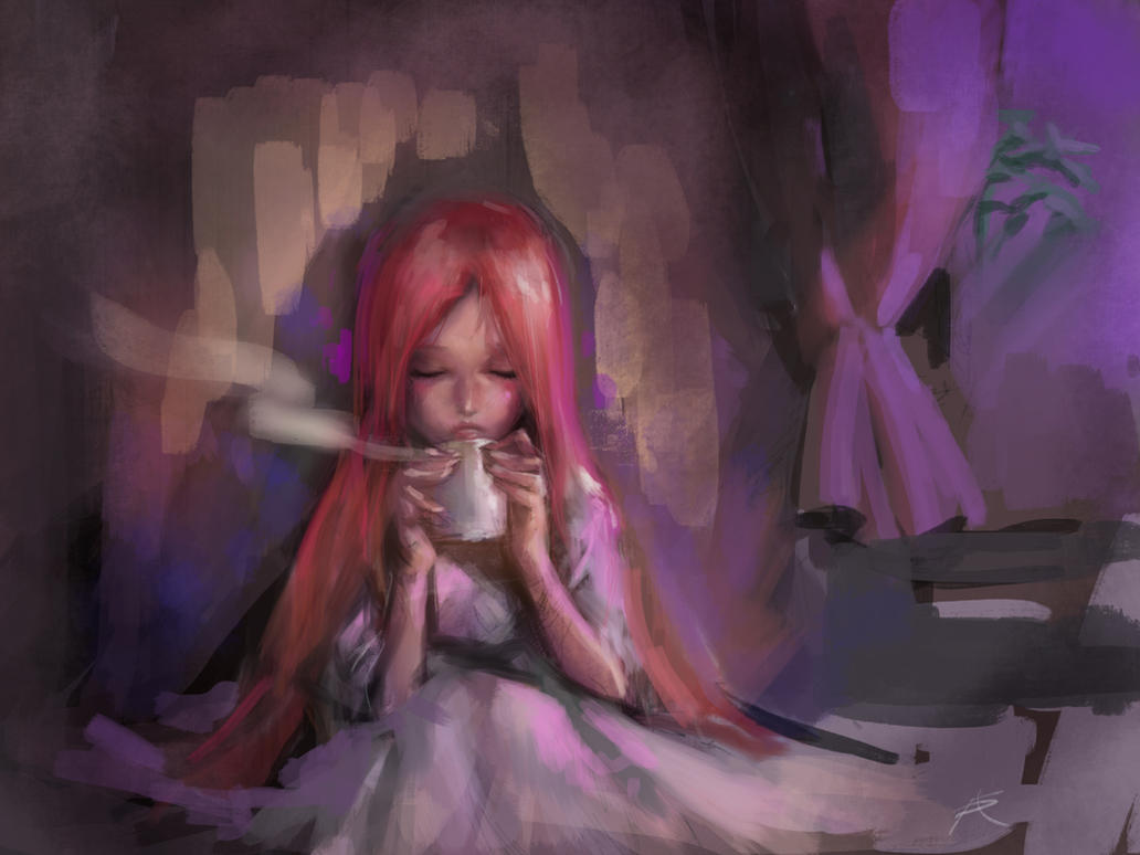 Finger painting- A cup of Cocoa by ptcrow