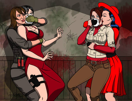 Quiet vs Ada and Claire vs Red Spy [Commission]