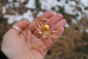 Lg Pearl Candy, Butterscotch glass and crystal by arachnotopia