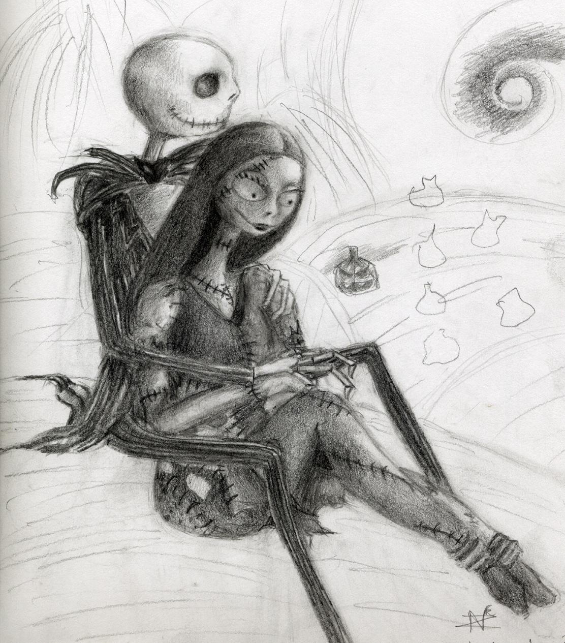 Jack and Sally by Aliquis01L on DeviantArt The Nightmare Before Christmas Sally And Jack Drawings