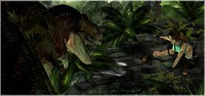 Lara Croft vs. T-Rex
