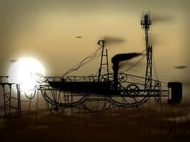 Steampunk Airship by KMiklas