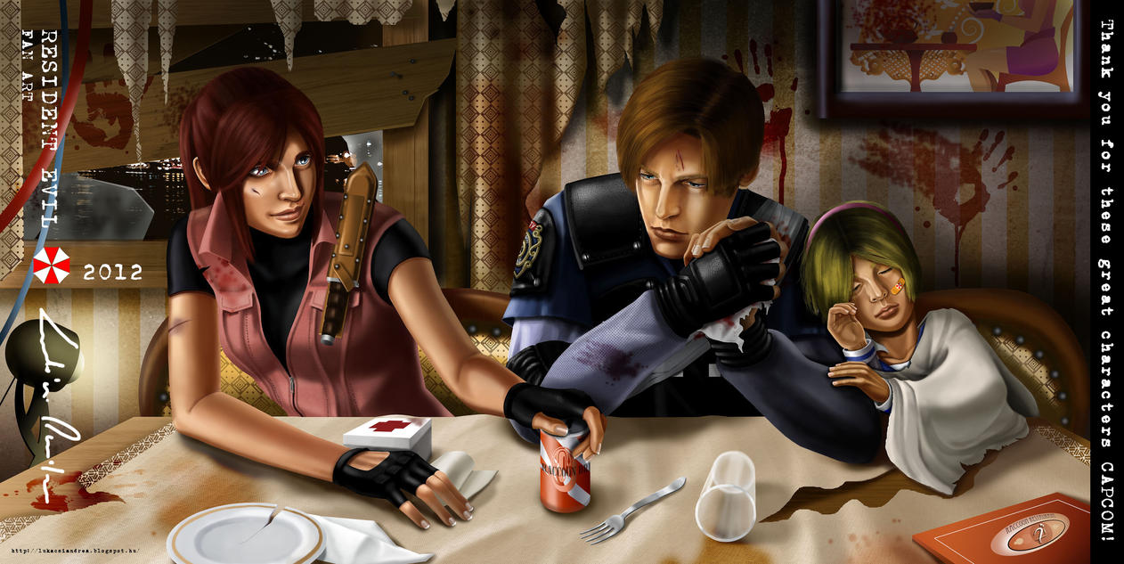 Resident Evil: Leon, Claire, Sherry resting by ThelastA