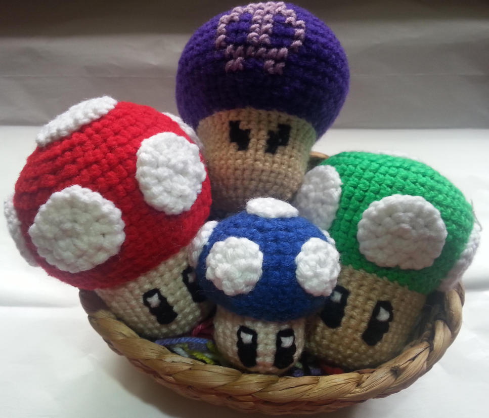 Crochet mushrooms by DuctileCreations